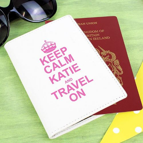 Personalised Keep Calm Pink Passport Holder